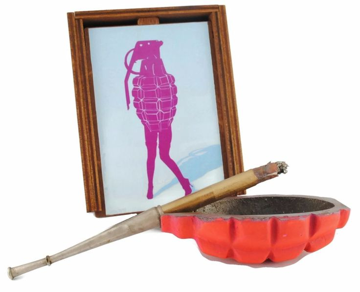 """Never give a pretty girl a hand grenade !  Just make a surprise - buy our """"Lady Grenade"""" Ashtray Gift ! / #ashtray #F-1 #F1 #handgrenade #hand #grenade #trench #art #shells #antiques #bullets #rings #ww2 #diy #trenchart #wwii #vase #lamp #worldwar1 #ww1 #trenchartstudio #studio #street #styles #posts #military #fashion #vintage #wedding #handicraft #steampunk #dieselpunk #style #Lady #Pink #PinUp"""