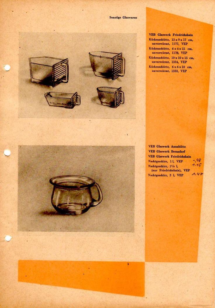 """""""Sonstige Glaswaren 1957"""" VEB Glaswerk Friedrichshain Küchenschütte unverwärmt 13x9x17, 6x4x15, 10x10x15, 6x6x10"""
