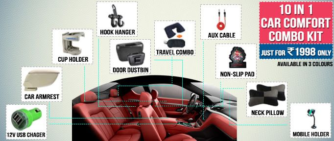 Amazing ! 10 in 1 #CAR COMFORT COMBO at just Rs 1998. bit.ly/1xItLss