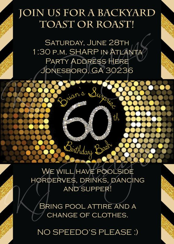60th Birthday Invitation Digital Version Mens By