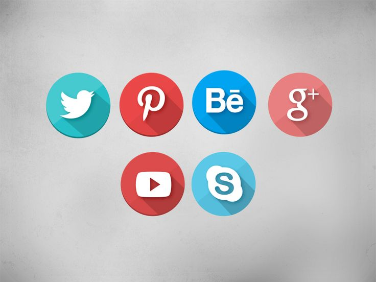 Long shadow social icons designed by KPL