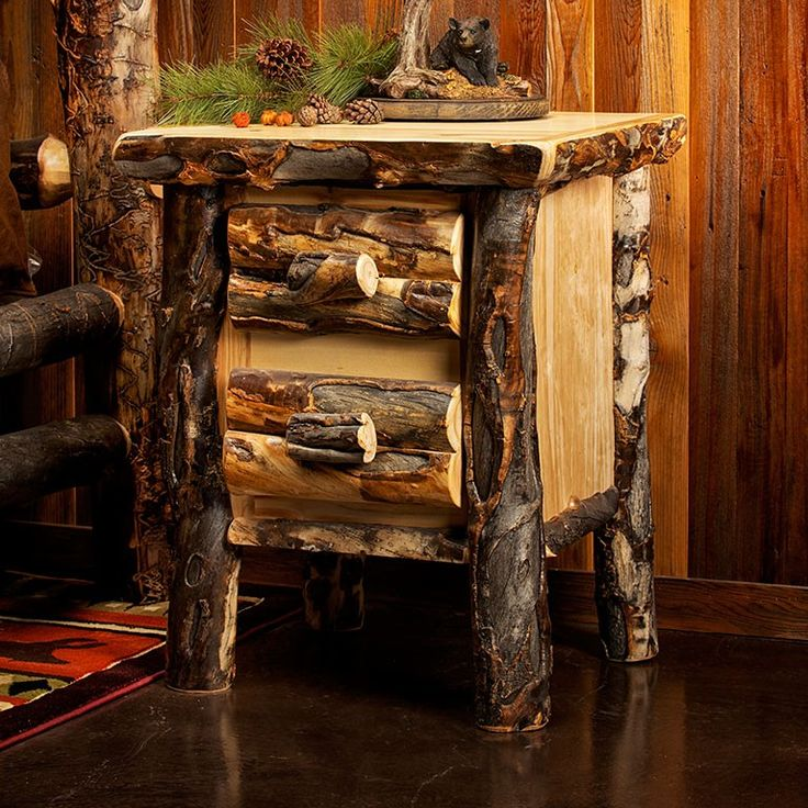 Aspen Estate Dark 2 Drawer Log Nightstand Has A Rustic, Natural Charm That  Can Complete