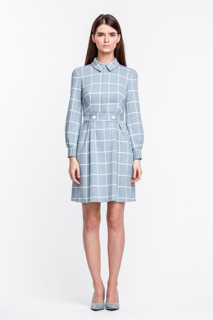 2299 Платье мини голубое в белую клетку, с планкой и пуговицами на поясе купить в Украине, цена в каталоге интернет-магазина брендовой одежды Musthave