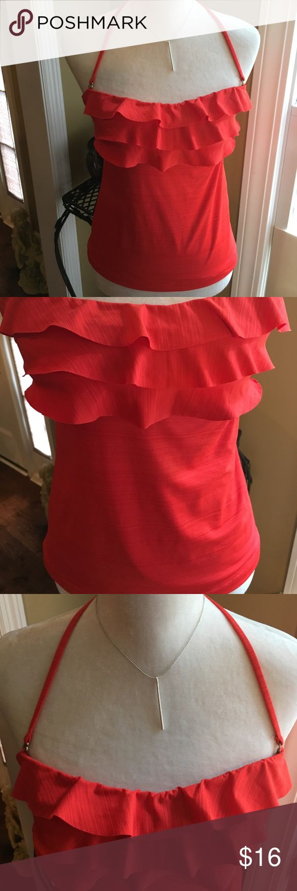Gorgeous Burnt Orange Tankini Top Splash into Summer wearing this Citrus Orange Ruffle Front Tankini by Mossimo. Size Small. Really Cute. Like New!!! Swim