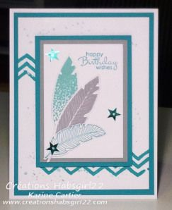 Stamps: Four Feathers, Small Pairs, Gorgeous Grunge, Work Of Art Paper: Whisper White, Smoky Slate, Bermuda Bay Inks: Smoky Slate, Bermuda Bay, Coastal Cabana Tools: Paper trimmer, Big Shot, Feathers Framelits Other: Stampin 'Dimensionals, In Color Sequins