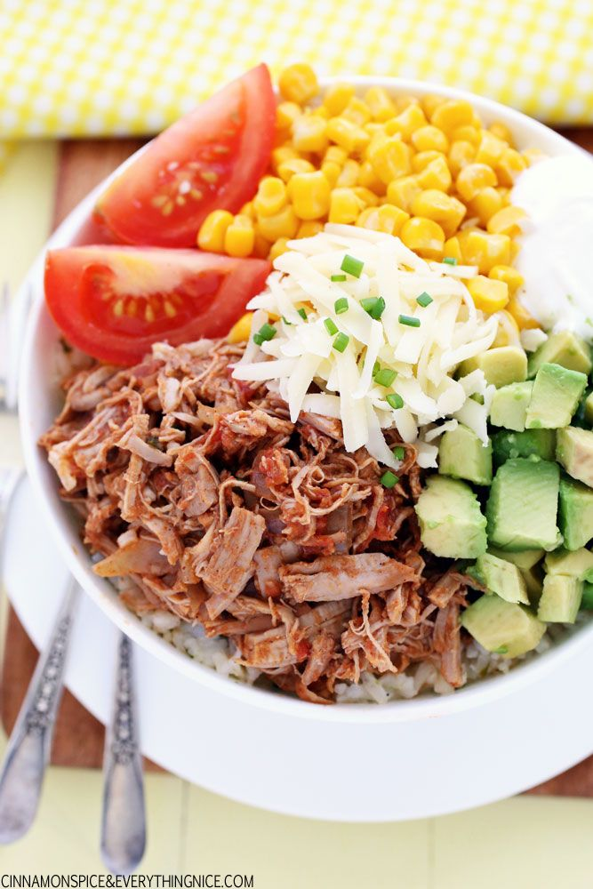foodinvertical:  foodffs:  Slow Cooker Pork Burrito Bowls Really nice recipes. Every hour. Show me what you cooked!  +