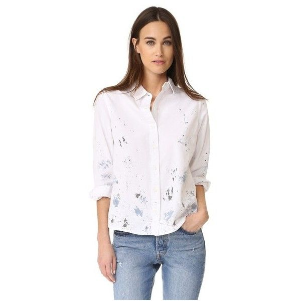 THE GREAT. The Campus Shirt (19,180 INR) ❤ liked on Polyvore featuring tops, cream with paint, long sleeve tops, pink collared shirt, cream long sleeve top, folding shirts and collared shirt