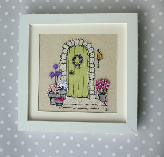 Handmade Country Cottage Embroidered Picture. Ideal for New Home or retirement Gift. Freehand work from sketches, with French knot flowers.