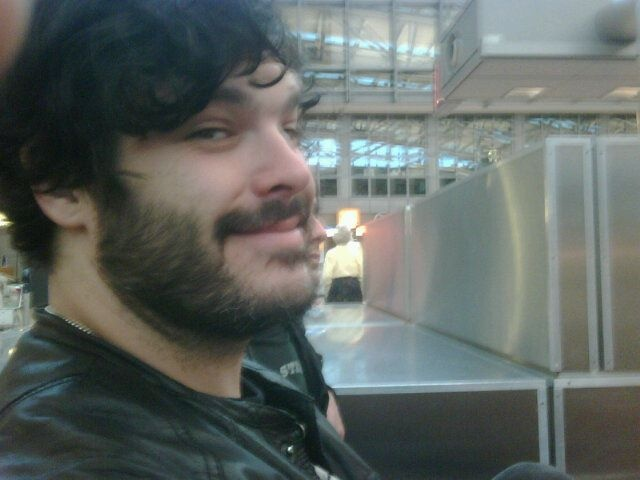 Mike Squires at Hamburg airport. Sweden Rock!