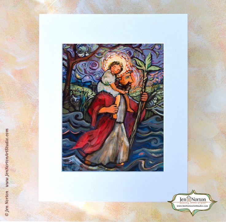 Saint Christopher art print Catholic folk art painting