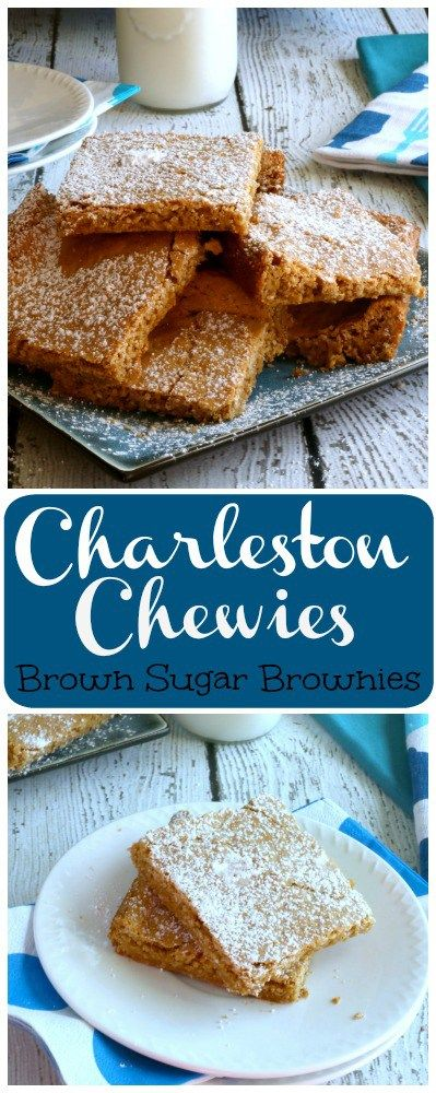 Charleston Chewies are a chewy brown sugar brownie type bar cookie. Traditionally made with pecans, these bars taste like a benne wafer from the addition of sesame seeds instead of pecans.
