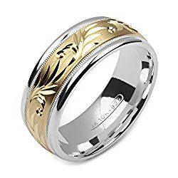 alain raphael 2 tone sterling silver and 10k yellow gold 8 millimeters wide wedding band ring - Wide Band Wedding Rings
