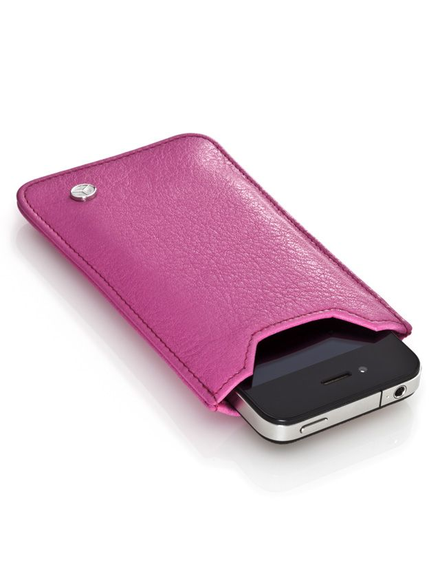 Smartphone sleeve, suitable iPhone 4. Smartphone sleeve pink B66951329  Pink. 100% Italian calfskin. 3D star logo stud on outside. Size: 8 x 13 cm. Handmade in Germany.