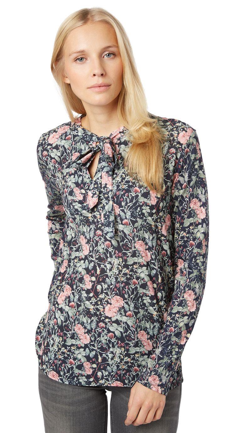 florale Tunikabluse mit Schleife für Frauen (gemustert, langärmlig mit Rundhals-Ausschnitt und V-Öffnung sowie Bindeband) - TOM TAILOR