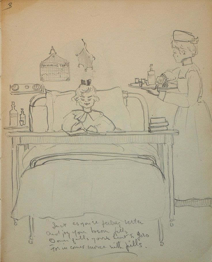 """During her hospitalization in 1903 Emily Carr was unable to paint, but her creative spirit led her to create a sketchbook, documenting her stay at the East Anglian Sanatorium. """"Sketchbook for Pause; Rest,"""" page 3, 1903, McMichael Canadian Art Collection."""