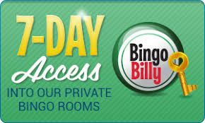 Sign up at Bingo Billy and get 7-Day Access to Private Bingo Room.  4 hours per day of exclusive games with guaranteed jackpots from $500-$1,000.  #Onlinebingo #bingobilly #promotion