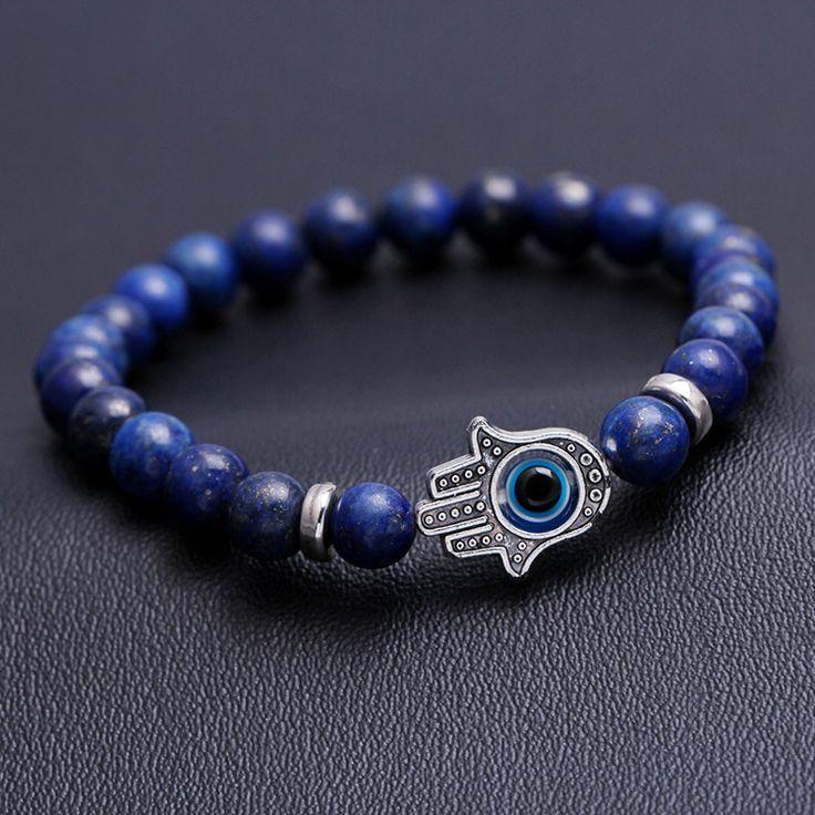 Aliexpress.com: Comprar Lapis lazuli granos de mala suerte mano hamsa mal de ojo estabilidad namaste meditación reiki energía pulsera del estiramiento de Pulseras del filamento fiable proveedores en Dcee jewelry factory Store