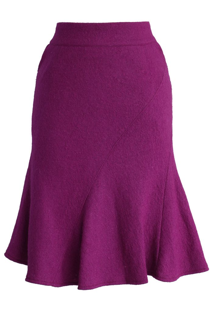 Flare Tweed Skirt in Purple - Skirt - Bottoms - Retro, Indie and Unique Fashion