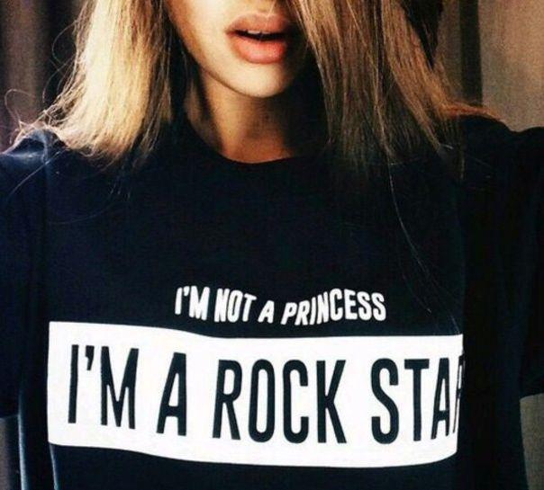 Je ne suis pas une princesse je suis un ROCK STAR T SHIRT femmes Hip Hop Sport tops mode vêtements ras du cou tee été le Style T chemise , Plus la taille dans T-shirts de Accessoires et vêtements pour femmes sur AliExpress.com | Alibaba Group