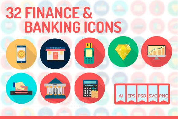 32 Finance & Banking Icons by Graphiqa-Stock on Creative Market