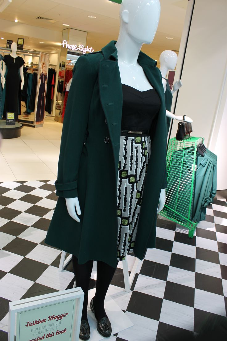 Blogger Fuller Figure Fuller Bust created this look for the mannequin. #WinterGreens