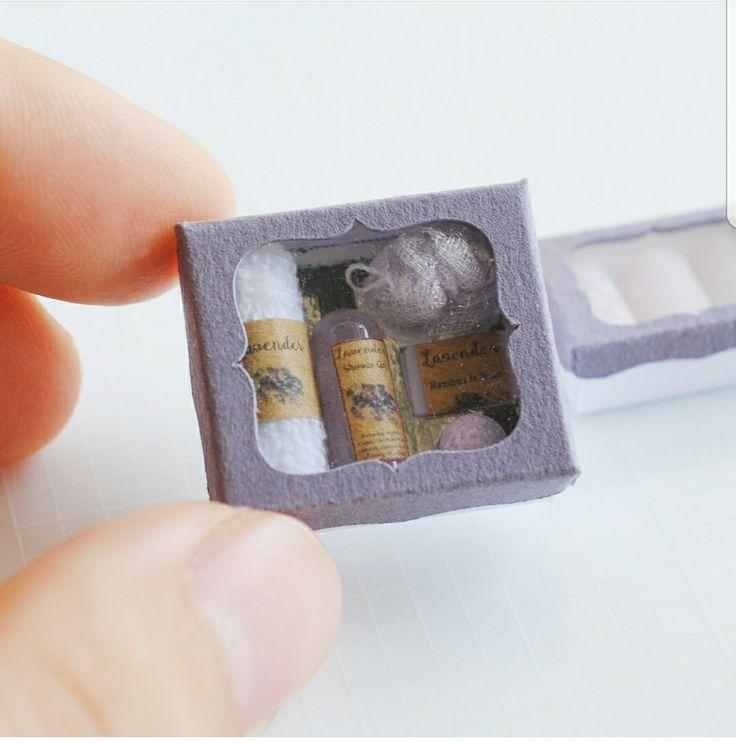 Dollhouse miniature lavender toiletries