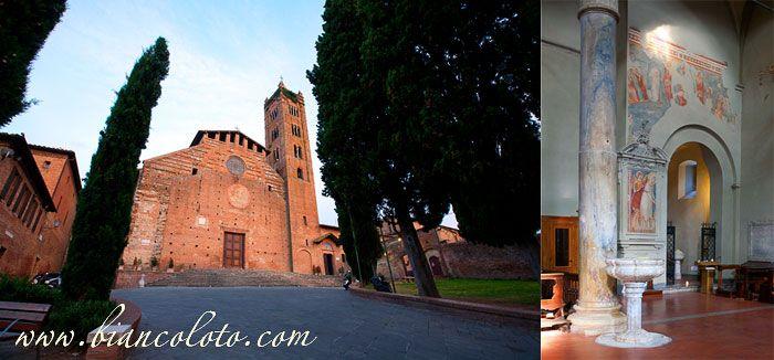 Сиена. Базилика Сан Клементе-ин-Санта-Мария-деи-Серви.  Постройка базилик продолжалась 3 столетия, в итоге получилось разнообразное смешение стилей: готика, ренессанс, барокко и романский стиль. Внутри сохранились фрески XIV в. и работы XIII-XIV вв.