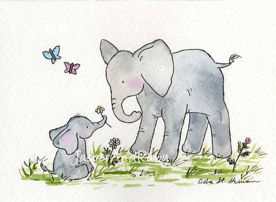 Elephant Nursery Art Children S Wall Decor Kids Print Large Baby For The