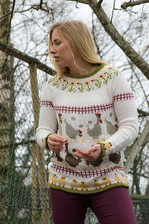 """Denne genseren ble strikket som et eksempel på hvordan påsken kan inspirere til å lage fine mønstre. Den er kun beregnet i en størrelse (M), men har du en annen favorittoppskrift i din størrelse er det bare å bruke bordene der. I hønsestrikk er det ikke så farlig om bordene """"går opp"""" eller ikke, det vil i alle tilfelle bli i siden og ikke synes."""