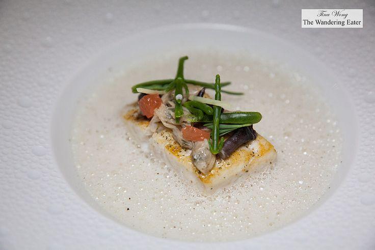 Sea bass with Ritz salt and myrte citronnée, clams from Ria Formosa, Bulhão Pato emulsion - Tina Wong