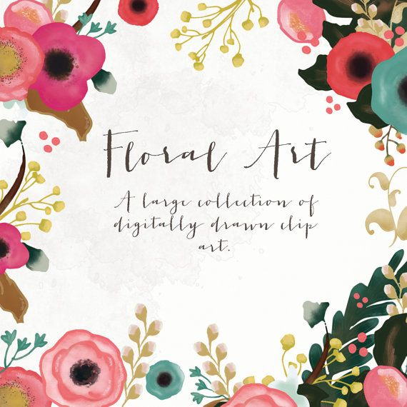 Floral Art Collection  Digitally Drawn Clip Art by CreateTheCut, £6.00