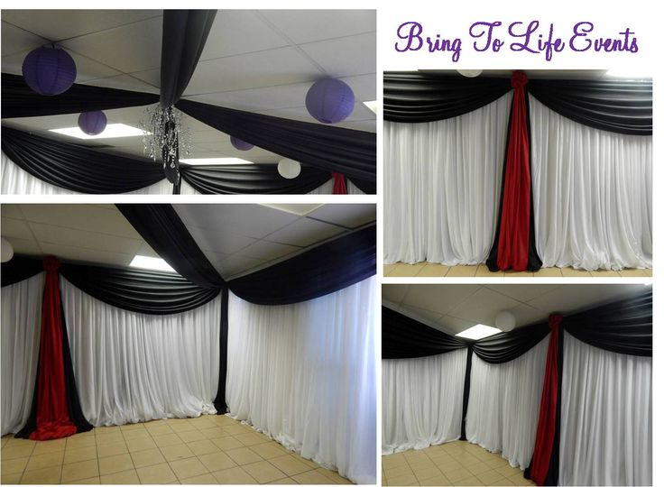 White, black and red full room draping and roof draping