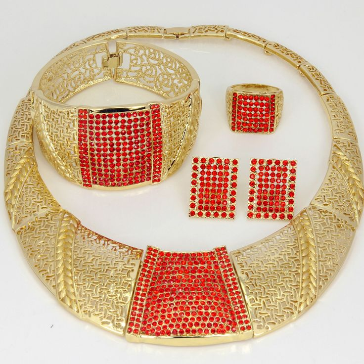 Find More Jewelry Sets Information about 2016 Dubai Fashion Hollow Red Crystal 18K Gold Plated Jewelry Sets Women  party luxury necklaces, bracelets, earrings and rings,High Quality jewelry sets women,China red crystal Suppliers, Cheap earrings and rings from AE Jewelry&sport jerseys on Aliexpress.com