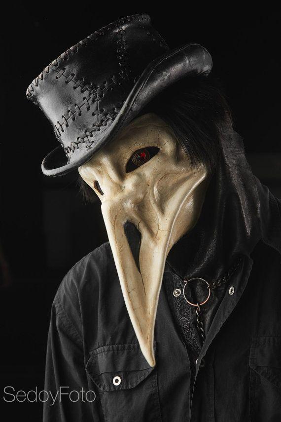 Masque en cuir peste le corbeau / fait main / masque de médecin de peste / geek / halloween / gothique / masque bec / transmissible par le sang