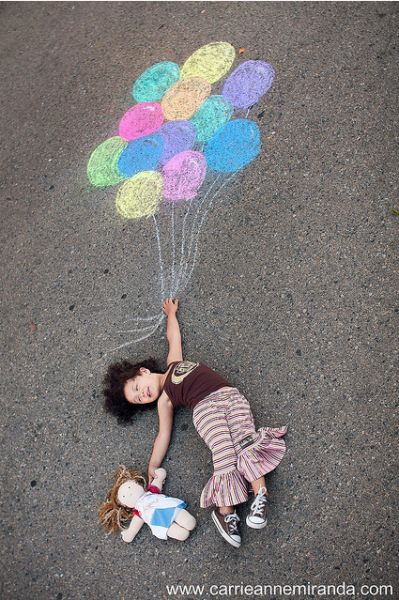 9 creative sidewalk chalk photos. This is so funny!! I just learned about this type of stuff today in my photography class!!