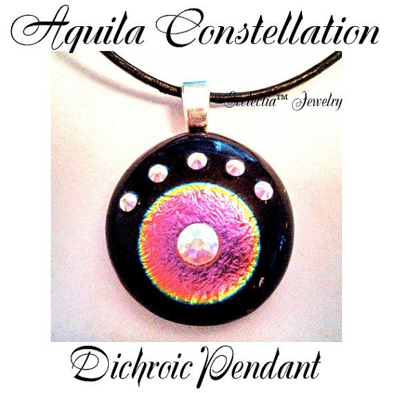 Aquila Constellation Dichroic Pendant by EcclectiaJewelry on Etsy, $28.00