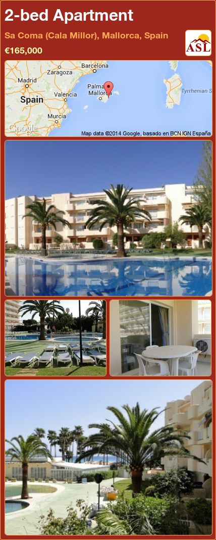 2-bed Apartment in Sa Coma (Cala Millor), Mallorca, Spain ►€165,000 #PropertyForSaleInSpain