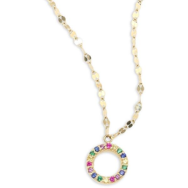 LANA GIRL Mini Circle Rainbow Sapphire Pendant Necklace ($890) ❤ liked on Polyvore featuring jewelry, necklaces, rainbow jewelry, multi color necklace, circle necklace, 14k necklace and pendant necklaces