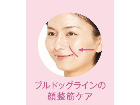 """ほおがたれた「ブルドッグライン」、頬のたるみがあごまでつながる「マリオネットライン」、目頭からほおに伸びる「ゴルゴライン」の""""3大老けライン""""は、顔の筋肉を整えれば消せるんです。コンディショニングトレーナーの有吉与志恵さん考案の""""顔整筋ケ…"""