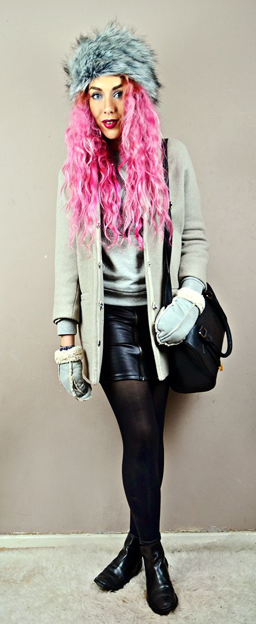 Coat// Topshop  (similar) Jumer// Brat and Suzie* Leatherette zip skirt// Boohoo (similar) Chelsea Boots// Ebay Bowler Bag// Primark (similiar) Fur Hat// New Look Shearling Mittens// New Look // Pink Hair