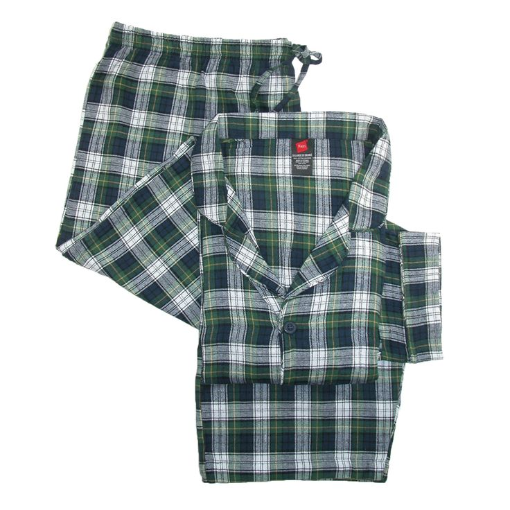 Hanes Mens Big and Tall Cotton Flannel Pajama Set                              …