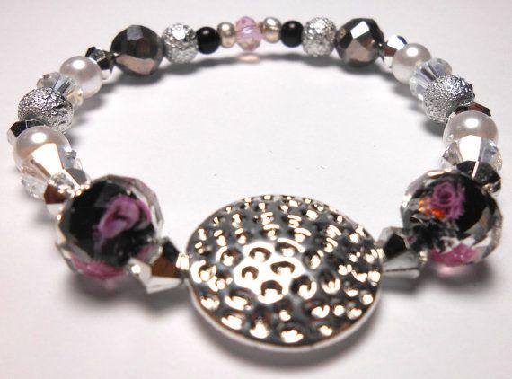 Silver Disk Stretch Plastic Bracelets  Arm Candy  by ShopJosette
