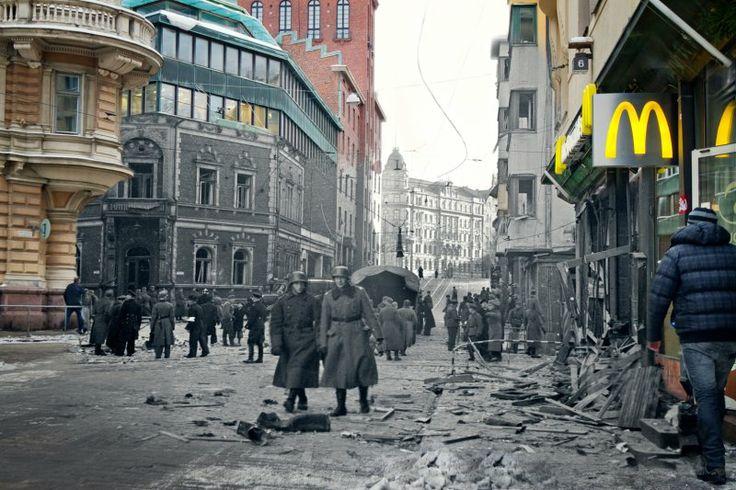 Yrjönkatu / 8.11.1942 / Pahin yhden pommin aiheuttama tuho Helsingissä II maailmansodan aikana: Yksittäinen neuvostopommikone lensi ilmavalvonnan huomaamatta pilvien yläpuolella kaupungin ylle. Kone havaittiin liian myöhään. Annettiin ilmahälytys. Samalla hetkellä kone pudotti pomminsa. Yrjönkadun ja Iso Roobertinkadun kulmaukseen pudonnut pommi surmasi 51 henkilöä ja kymmeniä haavoittui. Suurin osa uhreista oli elokuvateatterista Erottajan väestönsuojaan kiiruhtamassa olevia lapsia ja…