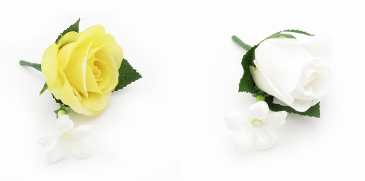 Coordinating buttonholes of roses and stephanotis. By https://www.loveflowers.com.au