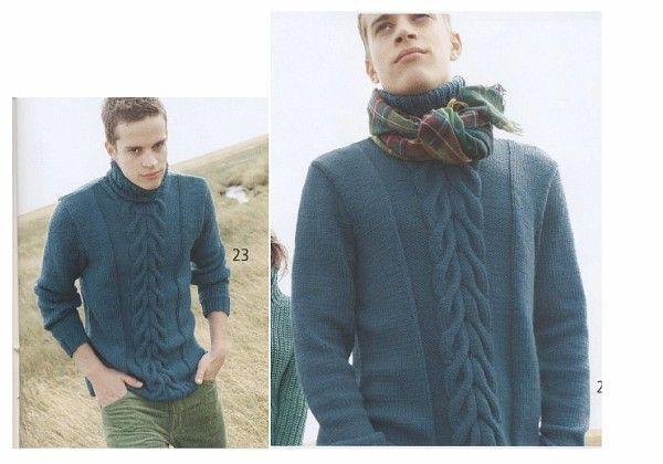 свитер с центральной косой