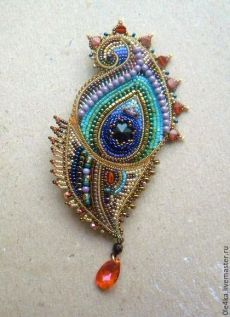 Пёрышко. Ольга Орлова | Bead Embroidered Brooches