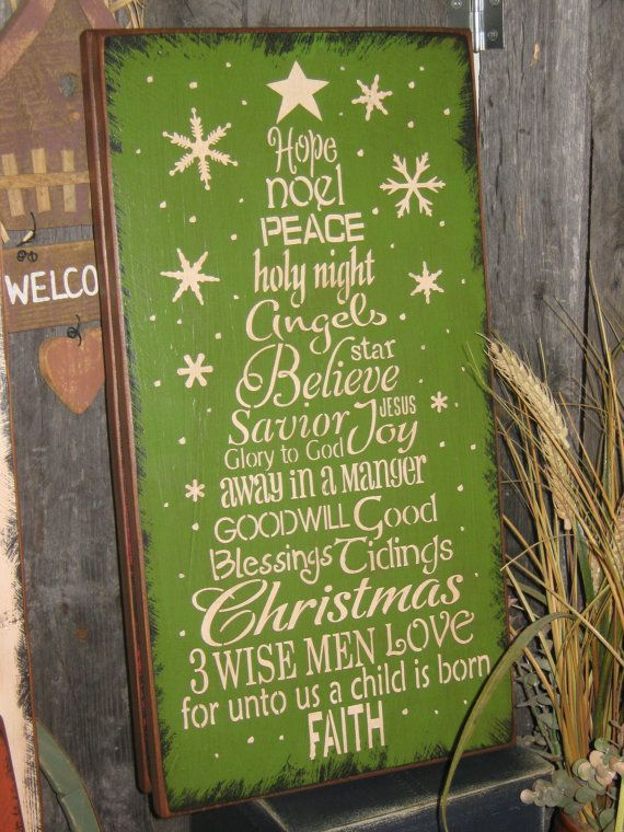"""Primitive Wood Painted Christmas Holiday Wishes GREEN Sign """" Worded Christmas Tree """" Love SPirit Noel SUBWAY Sign art Country Folkart Winter..."""