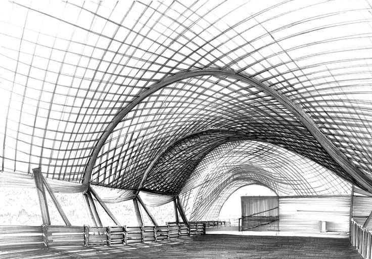 Drawing inspired by architecture of Otto Frei - pritzker award winner.  Made for DOMIN Poznan drawing school by Emilian Nagiel.  http://nauka-rysunku.pl/