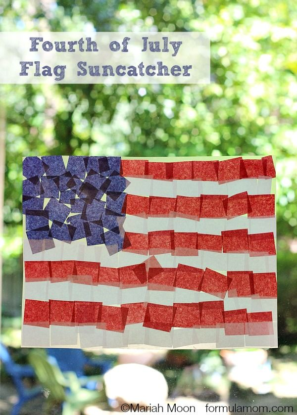 Fourth of July Crafts: Tissue Paper Flag Suncatcher