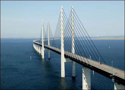 Oresund bridge between Sweden and Denmark